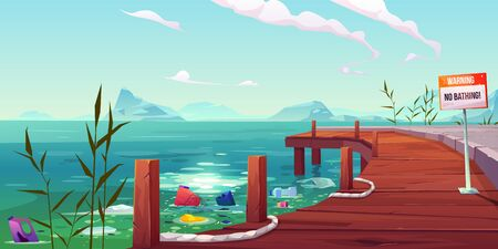Plastic garbage, ecology, water pollution problem, litter floating in river or lake near empty pier with warning banner forbid bathing on polluted pond landscape background Cartoon vector illustration