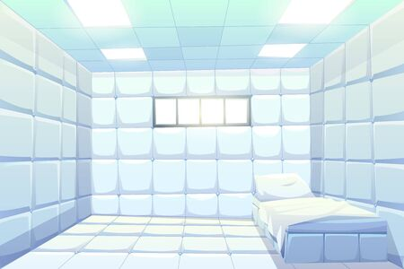 Asylum, madhouse empty interior with bed, white padded soft floor and walls, glowing lamps and small window. Psychiatric clinic room for insane patient with mental disorder Cartoon vector illustration