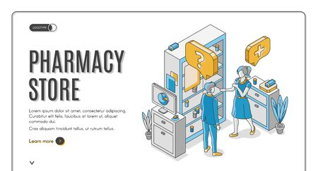 Pharmacy store isometric web banner. Customer communicate with pharmacist at medical drugstore interior with medicine lying on shelf. Healthcare business. 3d vector landing page in line art style Ilustrace
