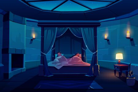 Young couple sleeping in bed with canopy in castle bedroom with starry sky visible through window on roof, palace apartment interior with fireplace, stone walls and candles Cartoon vector illustration