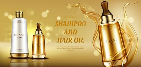 Cosmetics beauty product bottle mockup banner on gold background with liquid droplets splash. Hair care shampoo and oil serum cosmetic advertising promo template for magazine. Realistic vector ad banner