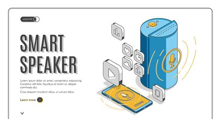 Smart speaker isometric landing page, portable wireless audio device with voice control, electronic gadget digital display to listen music online, mobile technologies. 3d vector line art web banner
