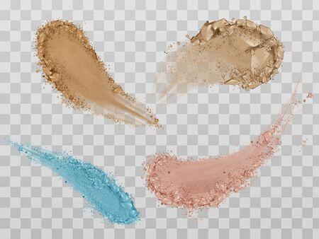 Haut-Foundation-Abstriche, Trockenpuder, Lidschatten-Pinselstriche. Schönheit Make-up-Kosmetik-Textur-Swatch, Fleckenspuren auf transparentem Hintergrund isoliert. Realistische 3D-Vektorillustration