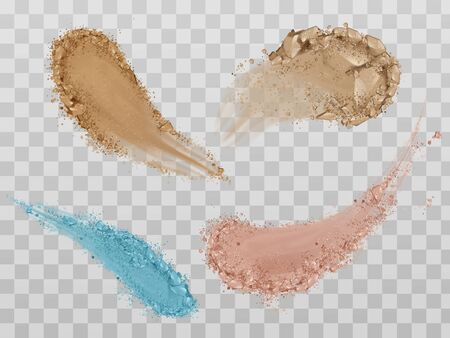 Skin foundation smears, dry powder, eye shadows brush strokes set. Beauty make up cosmetics texture swatch, smudge trace samples isolated on transparent background. Realistic 3d vector illustration