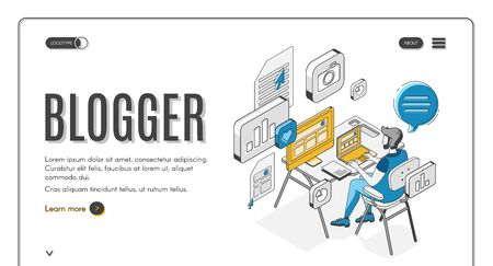 Blogger isometric landing page, man sitting at computer screen working on laptop, creating video content for social media networks broadcasting. 3d vector illustration, line art, web banner template