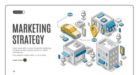 Marketing strategy isometric web banner. Car reach destination gps mark among buildings on map. Financial analytic company business planning, analyzing statistics, vector, landing page, line art style