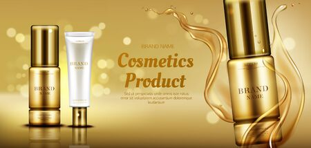 Cosmetics beauty product bottle mockup banner on gold background with liquid droplets splash. Skin care serum and cosmetic cream advertising promo template for magazine. Realistic vector ad banner Ilustrace