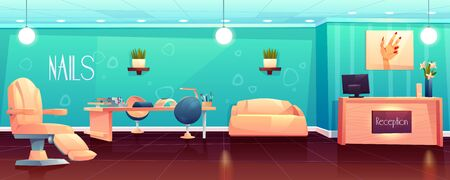 Salon for manicure, pedicure nails care beauty procedures, empty studio interior with reception desk and Pc, furniture, appliances, table, transforming armchair and couch. Cartoon vector illustration