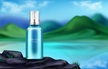 Cosmetics bottle on mountain landscape background, natural beauty product in spray tube stand on rock at beautiful green hills, lake and blue sky blurred backdrop, Realistic 3d vector illustration Illusztráció