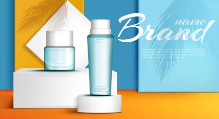 Summer aromas collection perfume, toilet water advertising banner, poster realistic vector template. Branded, transparent glass bottles on white pedestals, palm tree shadow on blue, orange background Ilustrace