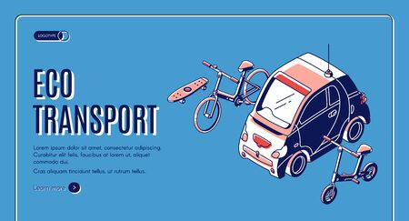 Eco transport isometric landing page, electric car, bicycles and skateboard on blue retro colored background, ecological friendly transportation vehicles, 3d vector illustration, web banner, line art