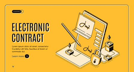 Electronic contract isometric web banner, e-signature on document at tablet screen with stylus pen and padlock, digital signing service secured internet technology, 3d vector landing page, line art Ilustrace