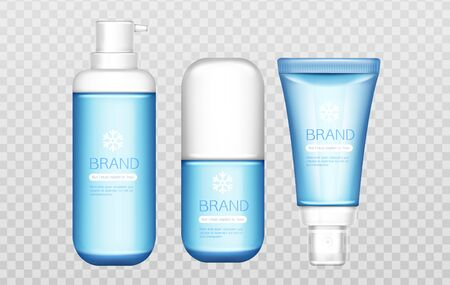 Winter cosmetic tubes set isolated on transparent background mock up, beauty cosmetics product blue bottles with white cap and snowflake, gel, cream, lotion. Realistic 3d vector illustration, clip art