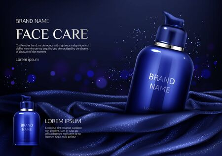 Cosmetics bottle mockup banner, face care spa beauty product on dark blue silky draped fabric background with glittering, men cosmetic pump tube package ad design. Realistic 3d vector illustration, Ilustrace