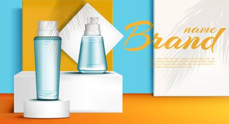 Cosmetic bottles on podium stage mock up banner of skin care cosmetics tubes, make up beauty product ad presentation with palm leaves shadows on showroom platform. Realistic 3d vector illustration Foto de archivo - 129679271