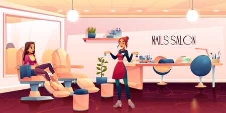 Woman in pedicure salon for nails care beauty procedures, master presenting nailpolish to client girl sitting barefoot in transforming armchair in spa grooming studio. Cartoon vector illustration  イラスト・ベクター素材