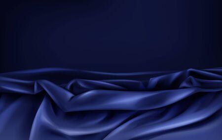 Tessuto di seta o raso stropicciato e ondulato, di lusso blu o viola scuro con rughe 3d sfondo astratto vettoriale realistico, copyspace. Splendida trama di velluto, tessuto setoso, illustrazione di tessuto elegante