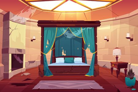 Abandoned bedroom in castle with canopy double bed. Scary empty palace apartment interior with window on roof, fireplace with spiderweb, cracked stone floor and dry plant. Cartoon vector illustration Foto de archivo - 129679280