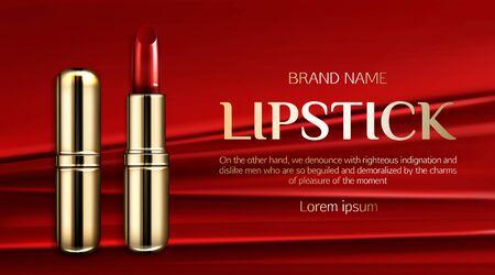 Lipstick cosmetics, make up beauty product mockup banner.