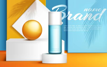 Cosmetic bottle on podium stage mock up banner, beauty skin care cosmetics tube product presentation with orange ball and palm leaves shadows on showroom platform. Realistic 3d vector illustration Ilustrace