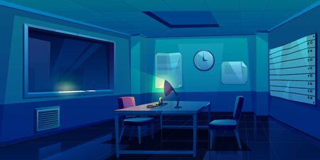 Interrogation room in police station, dark empty interior for questioning crimes with handcuffs and glowing lamp on table, place for interview arrested people in night time Cartoon vector Illustration