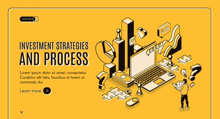 Investment strategies and process isometric web banner. Businessman stand at huge laptop with business icons and charts, financial instruments for money wealth growth 3d vector landing page, line art Ilustrace