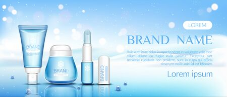 Winter cosmetic , lip balm tubes and cream jar on ice surface with pearls on snow drift background, beauty cosmetics product bottles set mock up line. Realistic 3d vector illustration, banner Ilustrace