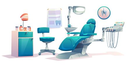 Dentist office, dental cabinet interior, empty stomatology doctor workplace with professional equipment for tooth care, patient transforming armchair, medical clinic room. Cartoon vector illustration