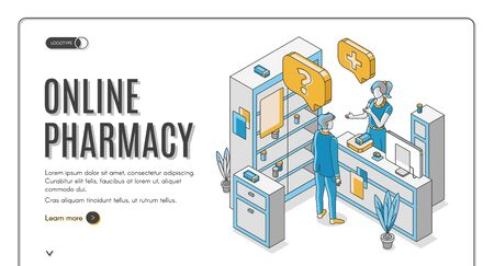 Online pharmacy isometric web banner. Customer communicate with pharmacist at counter desk in drugstore with medicine lying on shelf. Healthcare business. 3d vector landing page in line art style