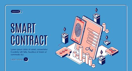 Smart contract isometric web banner, blockchain cryptocurrency etherium, e-signature on document at mobile screen, digital secured fingerprint internet technology. 3d vector landing page, line art Ilustrace