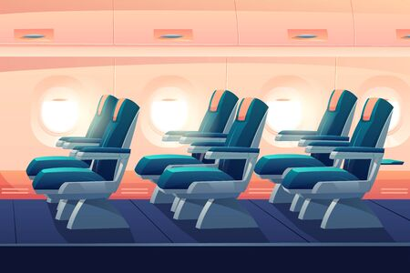 Airplane cabin, plane economy class with seats side view. Empty bright salon aisle with blue chairs in in aircraft, cozy places. Comfortable armchairs for journey, jet trip Cartoon vector illustration Foto de archivo - 129679349