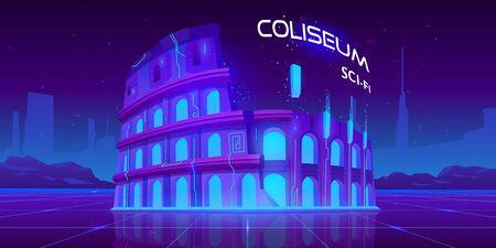 Neon Coliseum on retro sci-fi glowing background in futuristic synth retro wave style. Famous italian monument culture ladmark, antique building ruines, virtual reality Cartoon vector illustration
