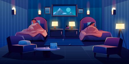 Young couple sleeping apart in hotel bedroom at single beds, apartment interior with nightstands, glowing lamps, armchairs, table and painting on wall. Man and woman sleep. Cartoon vector illustration
