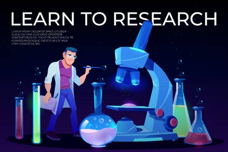 Science, learn to research landing page, man scientist in white robe stand at huge microscope with flasks and beakers around, neon glowing futuristic background. Cartoon vector illustration, banner