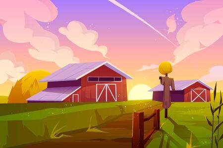 Farm on nature rural background with barn, green field, stack of hay and scarecrow under cloudy sunset or sunrise sky. Countryside farmland tranquil summer time landscape. Cartoon vector illustration