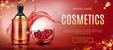 Pomegranate cosmetic mock up banner, serum pipette bottle with ripe garnet and water splashes, beauty skin care cosmetics product tube package mockup promo poster Realistic 3d vector illustration, ad
