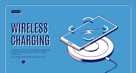 Wireless charging isometric web banner. Charge device for mobile phone and gadgets, innovative modern electronic equipment with wifi connection 3d vector retro colored landing page template, line art Foto de archivo - 133026070