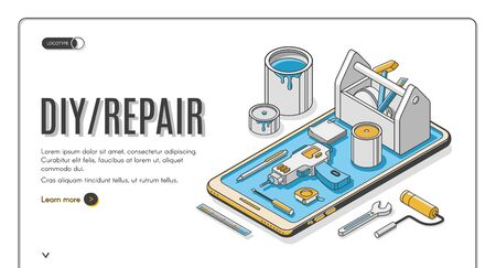 Diy repair isometric landing page, engineering construction service tools for house renovation on huge mobile phone screen. Architect building company service, 3d vector web banner template, line art Archivio Fotografico - 131816429