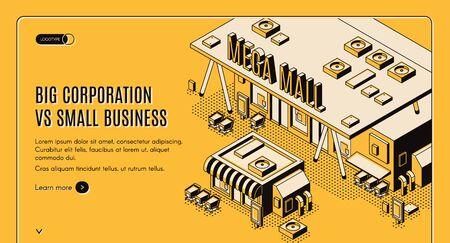 Banner web isometrico di grandi aziende vs piccole imprese, enorme mega centro commerciale stand vicino a un piccolo negozio privato, competizione aziendale e concetto di dominio, pagina di destinazione vettoriale 3d, line art