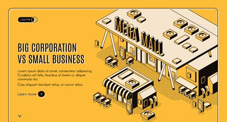 Big corporation vs small business isometric web banner, huge mega mall building stand nearby of little private store, corporate competition and domination concept, 3d vector landing page, line art Foto de archivo - 131816935