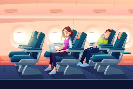 Man sleep in airplane, freelancer girl work on laptop in plane salon, passengers traveling on vacation by aircraft transportation. People sleeping and working during flight Cartoon vector illustration Foto de archivo - 133026065