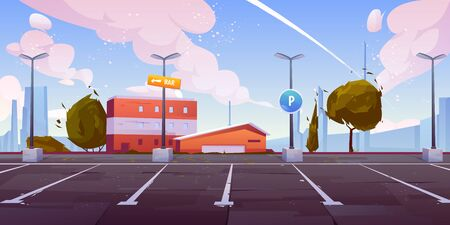City street parking with parallel lots, empty car parking spaces on industrial outskirts with road sign, bar signpost on lamppost, urban infrastructure for automobiles cartoon vector illustration Foto de archivo - 131817858