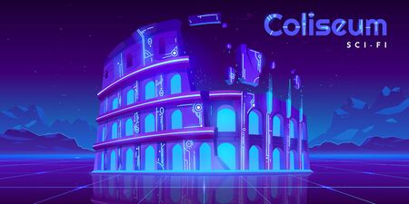 Neon Coliseum on retro sci-fi glowing background in futuristic synth retro wave style. Famous italian monument ladmark, antique building ruines, virtual reality tourism Cartoon vector illustration Foto de archivo - 133026002