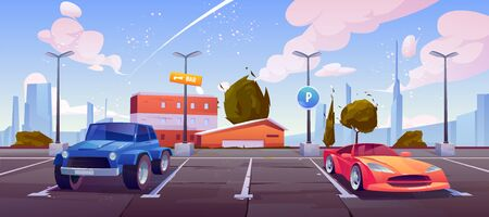 Car parking on city street, luxury automobiles stand in row with vacant place in center with markup and sign for park transport on cityscape background. Modern metropolis. Cartoon vector illustration Foto de archivo - 133026004