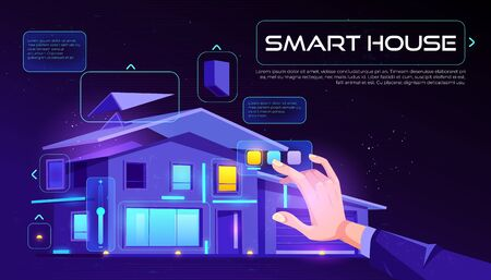 Smart house web banner. Home building with artificial intelligence technology, Internet of things application services touch screen on neon glowing background Cartoon vector illustration, landing page Foto de archivo - 133026006