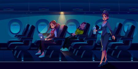 Passengers in night airplane cabin. Man sleep in plane, freelancer girl work on laptop stewardess carry water bottle. Traveling people sleeping and working during flight Cartoon vector illustration Archivio Fotografico - 133026005