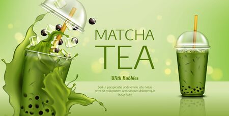 Matcha green tea with bubbles and ice cubes mock up banner. Cold drink splashing in takeaway plastic cup with cap and straw. Healthy beverage advertising for cafe. Realistic 3d vector illustration Ilustração