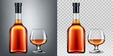 Brandy bottle and glass isolated clip art. Closed blank flask with strong alcohol drink mock up on dark and transparent background, design elements for advertising. Realistic 3d vector illustration Reklamní fotografie - 131815390