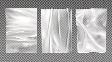 White wet paper, bad glued wheatpaste set. Wrinkled and creased sheets with crumpled texture isolated on transparent background, blank posters mock up for ads design. Realistic 3d vector illustration Foto de archivo - 131814898