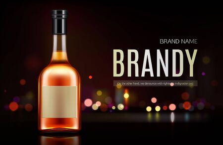 Brandy bottle mockup banner. Closed blank flask with strong alcohol drink mock up on dark background with defocused bokeh lights, beverage promo advertising design. Realistic 3d vector illustration Ilustrace